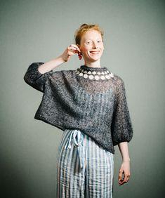 Ravelry: Cherry pattern by Midori Hirose Fair Isle Knitting, Hand Knitting, How To Purl Knit, Knit Purl, Mohair Sweater, Knit Picks, Cardigan Pattern, Cute Sweaters, Sweater Fashion