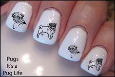 Pug Nail Decal Pug Life Dog Design Nail Art by DowningStDesign on Etsy