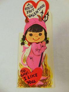 Vintage Devil Valentine's Day Card by DownADustyRoad on Etsy