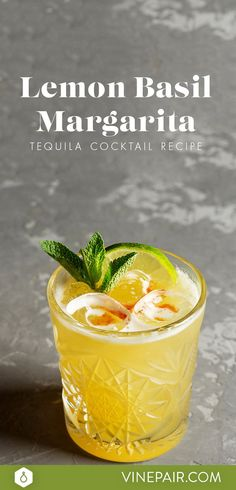 This lemon basil margarita is the best drink for summer and cinco de mayo.