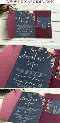 Navy and marsala wedding invitations. Floral wedding invitations. Boho wedding inspiration. Navy and burgundy wedding invitation. Maroon and navy wedding invitation. Pocket fold invitation. Navy wedding invitation. Marsala wedding invitation. Burgundy wedding invitation by Unica Forma