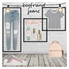 """""""Bf jeans"""" by teen105 ❤ liked on Polyvore featuring Sophia Webster, Bulbrite, CLUSE, Stila, Fendi and boyfriendjeans"""