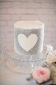 Silver glitter heart candle