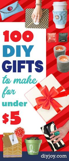 Cheap DIY Gifts - List of Handmade Gift Ideas on A Budget and Inexpensive Homemade DIY Christmas Presents - Do It Yourself Gift Idea for Family and Friends, Mom and Dad, For Guys and Women, Boyfriend, Girlfriend, BFF, Kids and Teens - Dollar Store and Dollar Tree Crafts, Home Decor
