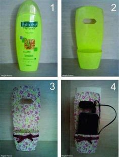 DIY: Turn an empty shampoo bottle into a cell phone holder while charging. Plastic Bottle Crafts, Plastic Bottles, Fun Crafts, Diy And Crafts, Craft Projects, Projects To Try, Support Telephone, Shampoo Bottles, Cell Phone Holder