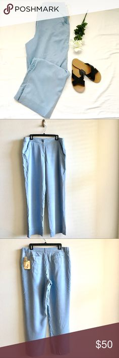 "NWT Tommy Bahama Blue Silk Casual Women's Pants NWT Tommy Bahama Blue Silk Casual Women's Pants. Silk Ripstop Cruiser Pants. Size 16. Inseam: 32"" Waist across: 19"" Rise: 12"". 100% Silk. Pet and smoke free home. Tommy Bahama Pants"