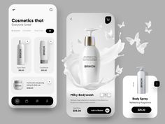 Cosmetic Mobile App UX/UI Design by Ghulam Rasool 🚀 on Dribbble Android Design, App Ui Design, Mobile App Design, Mobile Ui, Cosmetic Web, Email Design Inspiration, Website Design Layout, Cosmetics, Kiosk