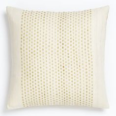 Embroidered Dot Silk Pillow Cover - Horseradish | west elm $39, 18 inch