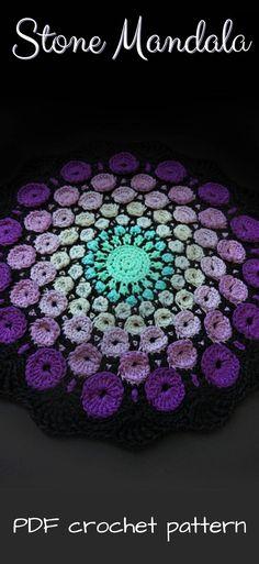Stone Mandala crochet pattern. Sweet handmade housewarming gift. Would make a good wall hanging or doily. #etsy #ad #crochet #pattern