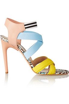 MSGM Elasticated grosgrain and leather sandals | THE OUTNET