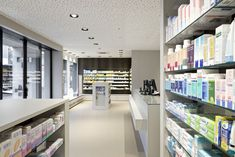 HPL in your individual shop fitting project! Thanks to its excellent properties and functionalities, Argolite can be used variably for wall coverings, work surfaces or service counters. In this pharmacy, the architect used Argolite natural fibre 910 AM for the wall coverings   Architect: Walker Architekten AG, Brugg, Switzerland   #architecture #interiordesign #storeconstruction #ArgoliteHPL #design #naturalfibre Service Counter, Information Board, Pharmacy Design, Shop Fittings, Work Surface, Planer, Switzerland, Construction, Interior Design
