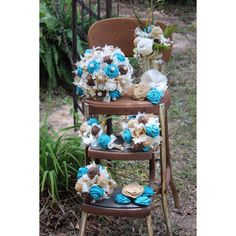 Part of a custom order ~ turquoise burlap bridal bouquet with added bling, Jr. bridesmaid bouquets, corsage, boutonniere, cake flowers and alter arrangement. Please message me for custom arrangements for your weddings and events!