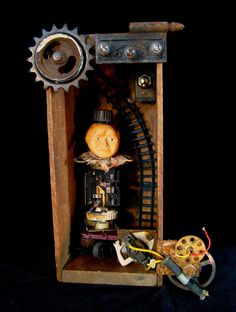 "The Engineer - 2013 mixed media assemblage 7.5"" wide x 12.5"" tall x 5.5"" deep by Dianne Hoffman http://www.diannehoffman.net"