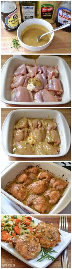 maple dijon chicken ¼ cup Dijon mustard 2 Tbsp real maple syrup 1 Tbsp olive oil 2 tsp soy sauce 1 clove garlic ½ Tbsp dried rosemary (or 1 Tbsp fresh) 2 lbs. boneless, skinless chicken thighs