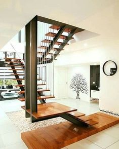 top unique modern staircase design ideas for your dream house 1 Home Stairs Design, Railing Design, Interior Stairs, Modern House Design, Outside Stairs Design, Modern Stairs Design, Steel Stairs Design, Stair Design, Railing Ideas