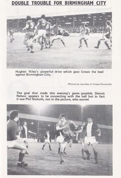 Crewe 2 Birmingham C. 1 in Sept 1974 at Gresty Road. Action from the League Cup 2nd Round tie.