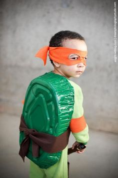 A TMNT shell requires just spray-painting a roasting pan. | 51 Cheap And Easy Last-Minute Halloween Costumes