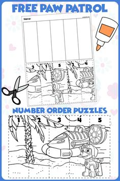 FREE Paw Patrol Number Puzzle! Great for teaching 1:1 counting skills and number recognition for numbers 1-5. No prep and great for math centers! #preschool #preschoolers #preschoolactivities #kindergarten #Homeschooling #mathcenters #pawpatrol