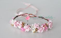 Pink Gold Floral Crown Flowergirl Hair by SweetLittleMelody