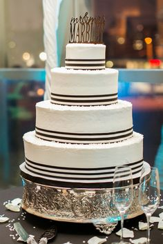 Brittney and Malcolm Marbley Black and White Wedding Cake Harrison Opera House