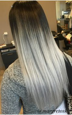 Black root to platinum silver ends. Silver ombre. Gray hair