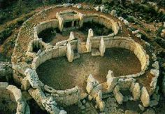 Mnadjra is a Maltese Megalithic Temple complex located just about 500 meters from Ħaġar Qim temple complex. The temples at Mnadjra are similar to Ħaġar Qim (and other Maltese temples) in that they have a similar shape - the round rooms of the temples. Like most other sites, it was built over a long time and in various periods. The earliest construction took place in the earliest Ggantija phase (3600 - 3200 BC) while the latest buildings were added during the Tarxien phase (3150 - 2500 BC).