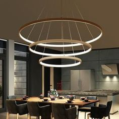 Modern Pendant Lights For Living Room Dining Room Circle Rings Acrylic Aluminum Body LED Ceiling Lamp Fixtures Ring Lamp, Ring Chandelier, Pendant Lamp, Chandeliers, Pendant Lighting, Circular Chandelier, Living Room Lighting, Home Lighting, Interior Lighting