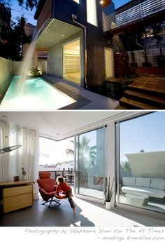 catwalk :: amazing outdoor spaces with a water fall from the guest room to the lap pool