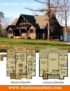 rustic lake house plan with an open living floor plan featuring vaulted ceilings and large windows