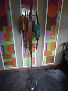 AMAZING mid centry modern 3 color glass and Walnut sculpural floor lamp | eBay