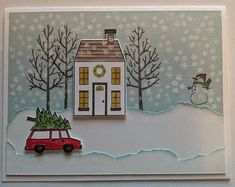 """Here is another Christmas Card made with two of my favorite stamp sets from this year's Occasions Catalog from Stampin' Up! - """"White Christmas"""" and """"Holiday Home."""" Find out how it was made on my blog at http://classycutupscreations.com/2014/12/im-dreaming-of-a-white-christmas/"""