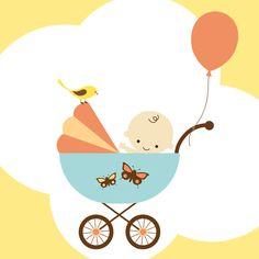 Tarjetas de bautizo , tarjetas con dibujos de bebes, carritos de bebes, globos. Tarjetas de bautizo con colores pastel rosa, amarillo, azu...