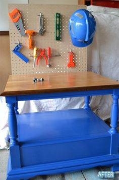 Old end table converted into kid tool bench with a little paint, peg board and hooks. DIY Project for the Paw Paw ~Carter & Collin would love it~