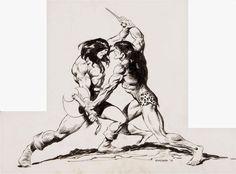 John Buscema's illustration of his two most famous characters, Tarzan and Conan the Barbarian. Comic Book Artists, Comic Artist, Comic Books Art, Culture Pop, Geek Culture, Tarzan, Comic Character, Character Design, Marvel Comics Superheroes