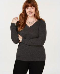 e420c47f581 Charter Club Plus Size Pure Cashmere V-Neck Sweater