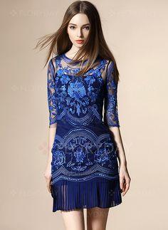 Dresses - $64.58 - Apricot Gray Dark Blue Cotton Blends Half Sleeve Above Knee Dresses (1955095033)