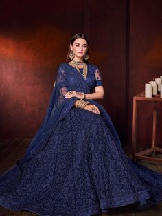 Navy Blue Net Designer All Over Floral Embroidered Lehenga Choli - Navy Blue Net Designer All Over Floral Embroidered Lehenga Choli Indian Wedding Gowns, Indian Gowns Dresses, Indian Bridal Outfits, Indian Bridal Fashion, Indian Bridal Wear, Indian Designer Outfits, Net Lehenga, Lehenga Choli, Sabyasachi