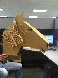 Cardboard horse to fit over a kid's bike Cardboard Mask, Cardboard Box Crafts, Cardboard Sculpture, Horse Mask, Horse Head, Horse Costumes, Foam Costumes, Homecoming Floats, Bike Parade