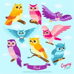 Owl Digital Vector Clip art / Bird Digital Clipart by CreamyInk