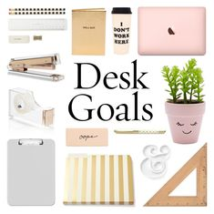 """""""Desk Goals: Pretty Workspaces"""" by deepwinter ❤ liked on Polyvore featuring interior, interiors, interior design, home, home decor, interior decorating, Kate Spade, Chico's, Sparco and New Look"""