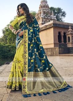 Online Shopping of Traditional Art Silk Sangeet Wear Designer Sea Green Weaving Work Half N Half Saree from SareesBazaar, leading online ethnic clothing store offering latest collection of sarees, salwar suits, lehengas & kurtis Traditional Silk Saree, Traditional Art, Saree Wedding, Wedding Wear, Half And Half, Indian Sarees Online, Blue Saree, Yellow Blouse, Bollywood Saree
