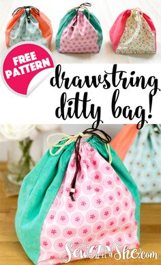 Sewing For Beginners Drawstring Ditty Bag - free sewing pattern — SewCanShe Sewing Hacks, Sewing Tutorials, Sewing Crafts, Sewing Tips, Fabric Scrap Crafts, Basic Sewing, Sewing Blogs, Sewing Basics, Sewing Patterns Free