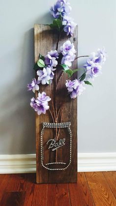 String Art- nails, stained wood, mason jar, flowers, summer, purple Made By: Jennifer MacLeod Schutt
