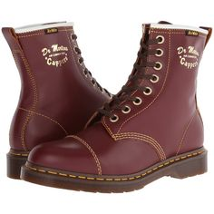 Dr. Martens Capper Boot Lace-up Boots, Burgundy ($70) ❤ liked on Polyvore featuring shoes, boots, burgundy, slip resistant shoes, long leather boots, vintage boots, burgundy boots and flat leather boots