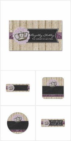 Royally Shabbyn - #vintage #queen #crown #handmade #smallbusiness #marketing #stickers #labels #prints #zazzle #rustic #wood #chalkboard #purple