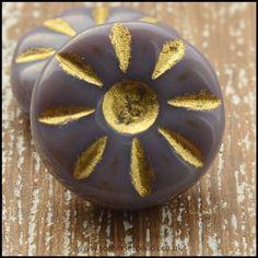 Czech Glass Daisy Beads 12mm - Lilac