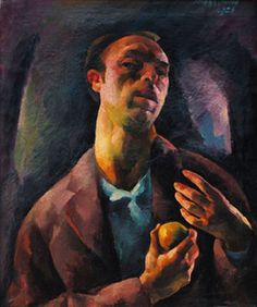 Zsögödi Nagy Imre - Self portrait with apple Artists, Paintings, Apple, Apple Fruit, Paint, Artist, Painting Art, Painting, Painted Canvas