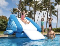 Kids Inflatable Water Slide for Pool and Poolside Splash Fun. Water Toy Allows for All Day Swimming and Diving. Works for In or Above Ground Pool. Made of Bounce House Material. Banzai Style Sliding S...