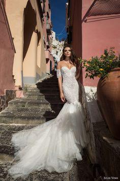 julie vino fall 2017 bridal strapless sweetheart neckline heavily embellished bodice tulle skirt elegant mermaid wedding dress low back chapel train (1203) mv
