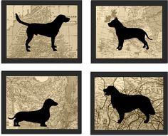 Modern Dog Art,  Silhouette Prints, Vintage Map Background, Pitbull, Dachshund, Golden Retriever, Labrador on Etsy, $10.00